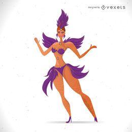 Ilustração de dançarina de carnaval