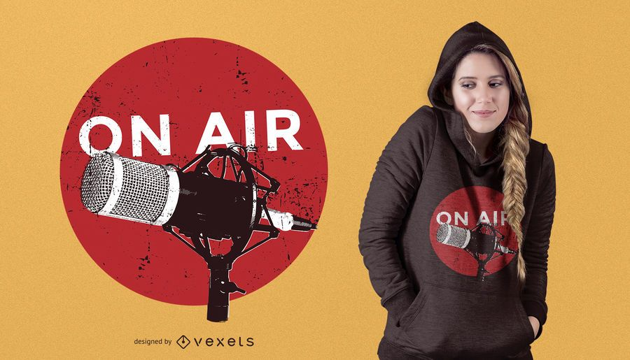 Diseño de camiseta de radio en el aire