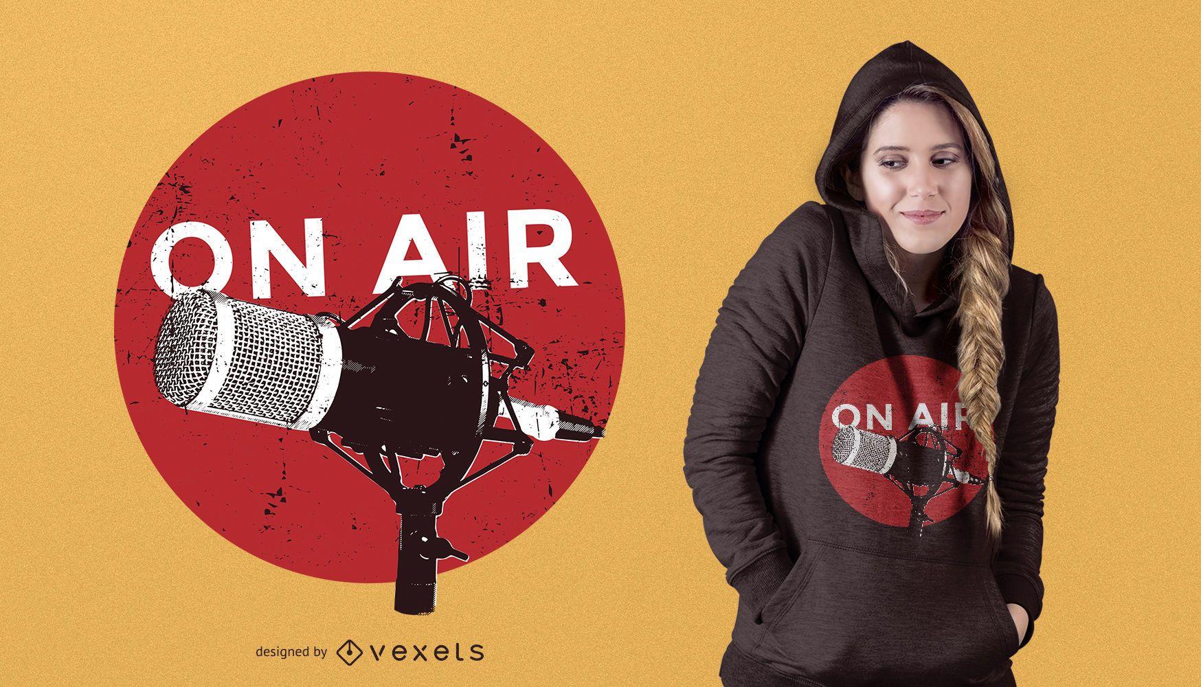 Diseño de camiseta de radio en el aire.