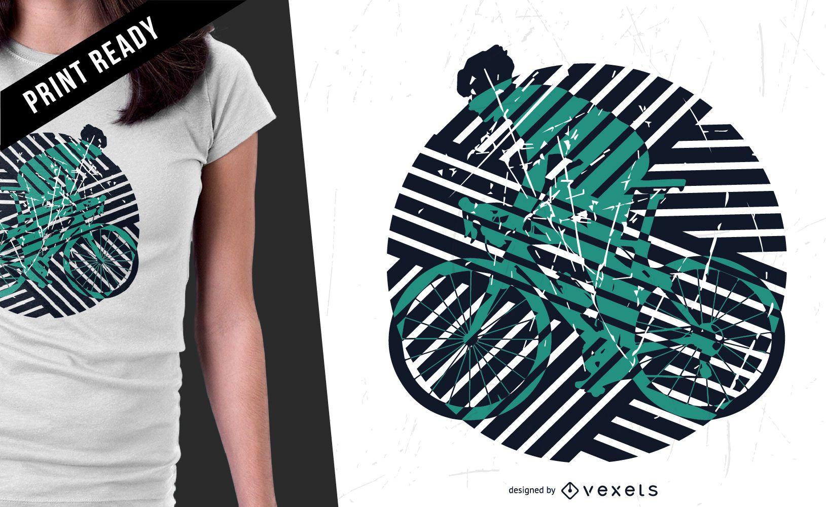 Diseño de camiseta de ilustración de bicicleta.