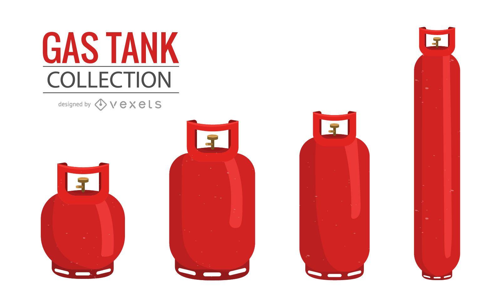Colección de ilustraciones de tanques de gas