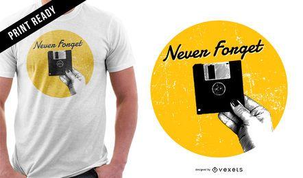 Diseño de camiseta de disquete de computadora