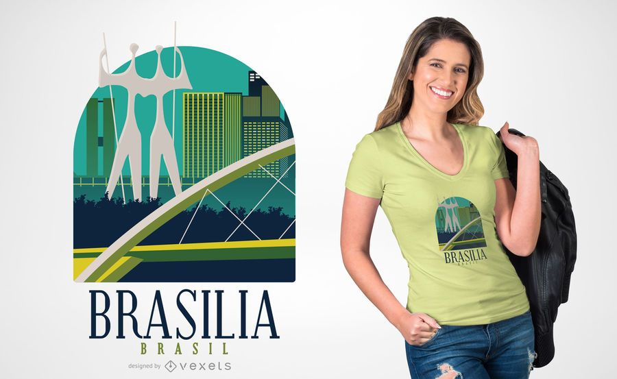 Diseño de camiseta plana brasilia.