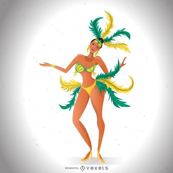 Ilustración de bailarina de carnaval brasileña