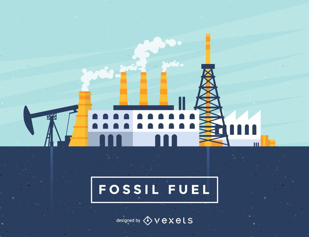Ilustración de la industria de combustibles fósiles
