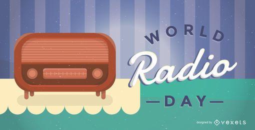 Ilustração de cartaz do dia mundial do rádio