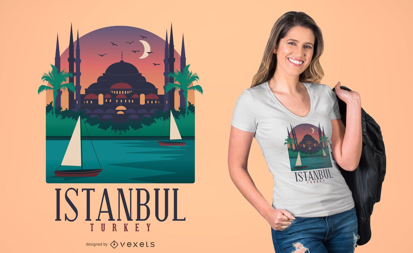 Diseño de camiseta de la ciudad de Estambul
