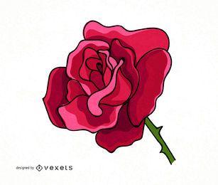 Ilustración rosa grande