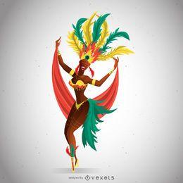 Dançarina de carnaval com traje colorido