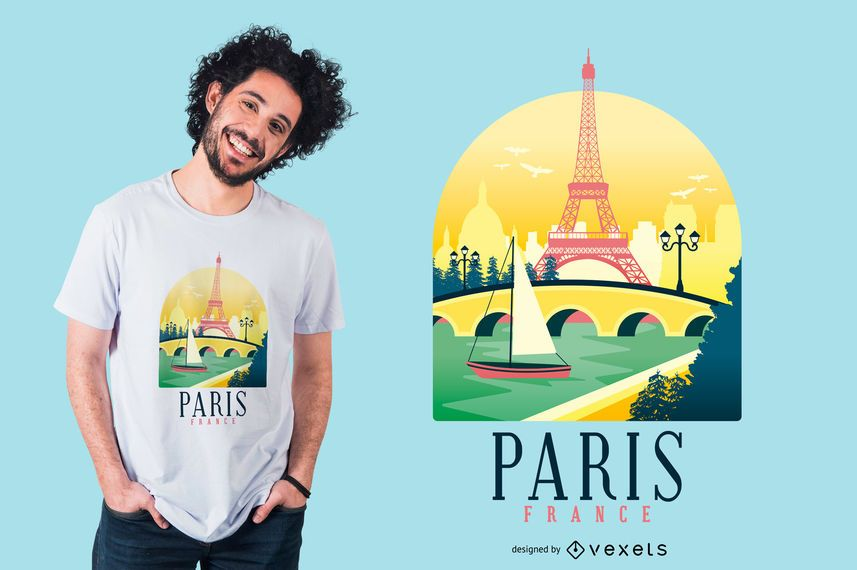 Design de t-shirt do horizonte de Paris