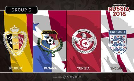 Rússia 2018 Grupo G bandeiras e emblemas