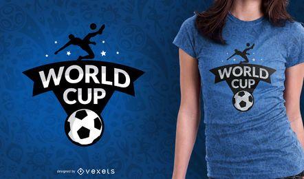 Projeto do t-shirt do emblema do campeonato do mundo do futebol