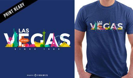 Diseño de camiseta de horizonte color Las Vegas