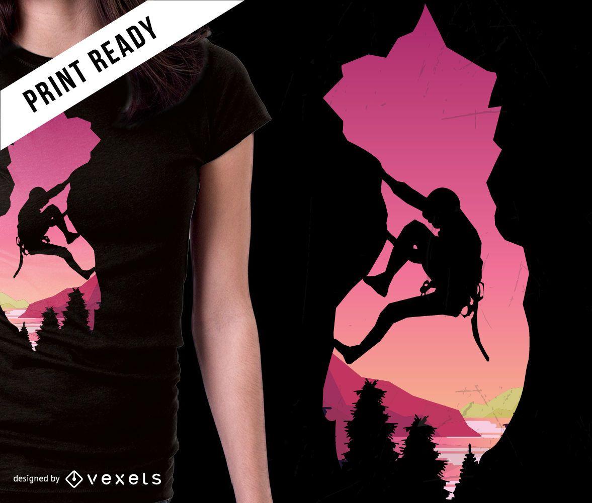 Diseño de camiseta de montañismo.
