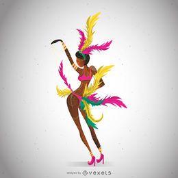 Dançarina de carnaval ilustrada posando