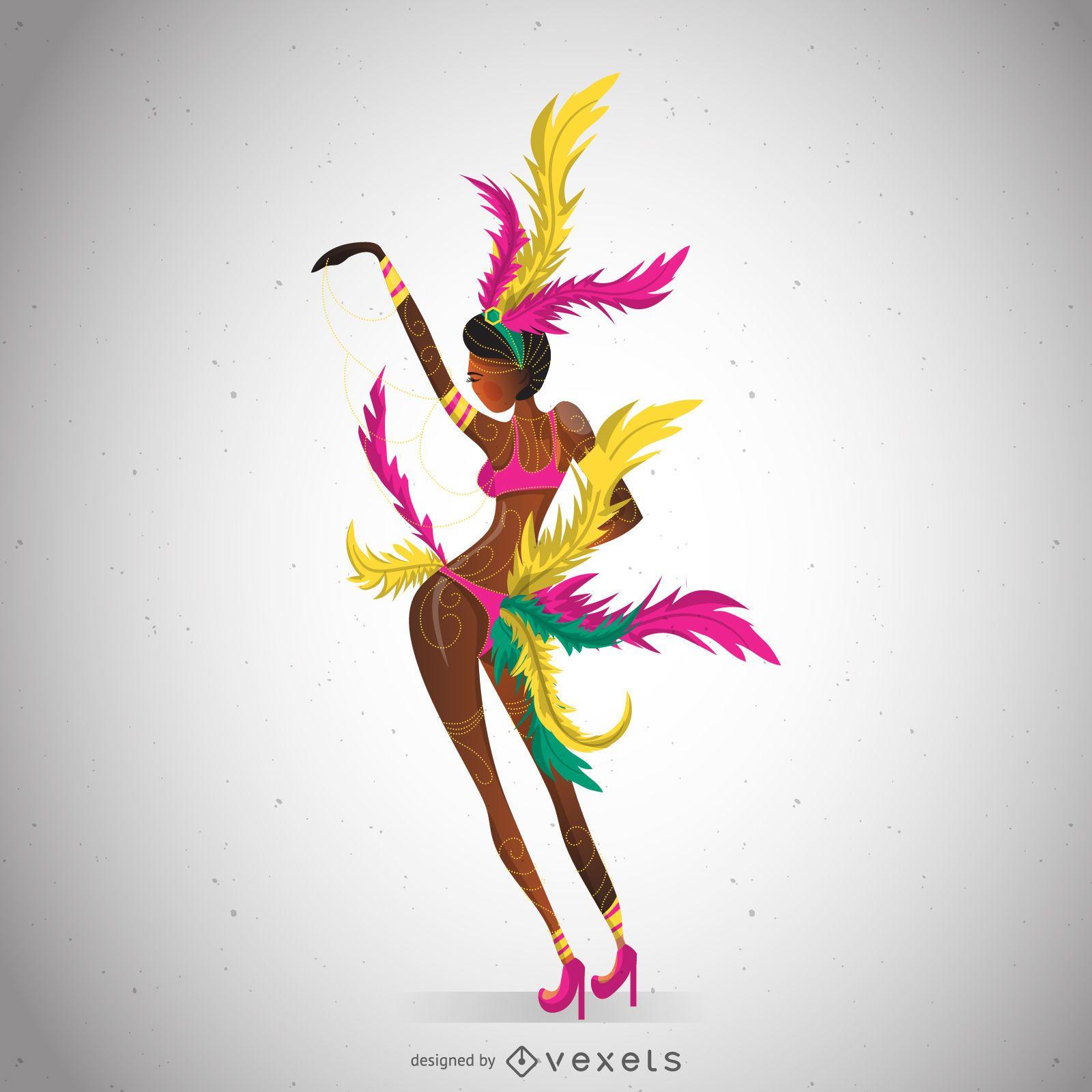 Illustrated carnival dancer posing