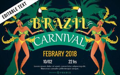 Diseño del cartel del carnaval brasileño.
