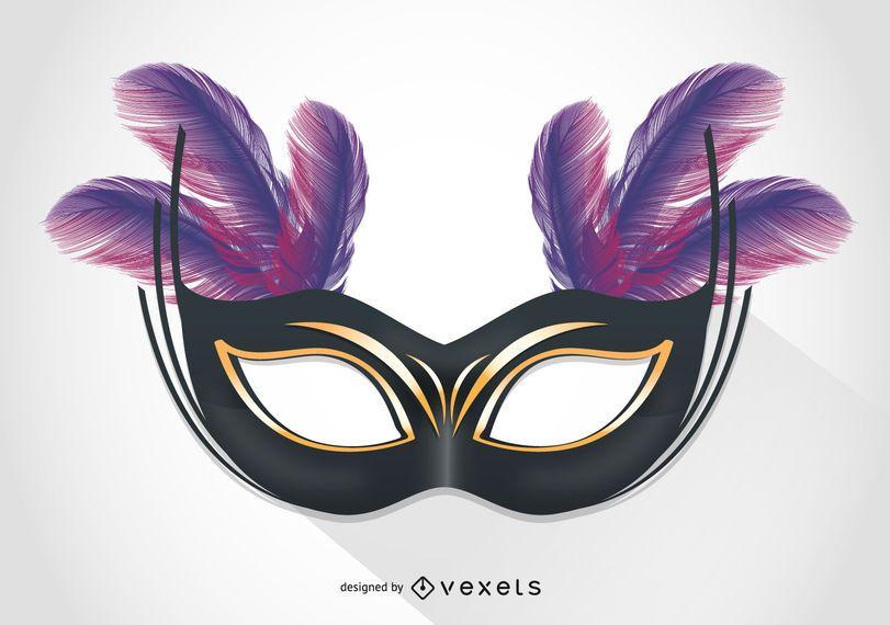 Ilustração de máscara de carnaval de Veneza