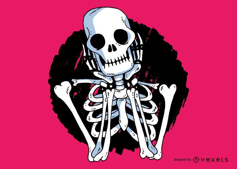 Ilustración esqueleto esperando