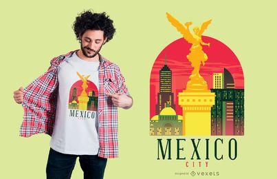 Diseño de camiseta de horizonte de la ciudad de México