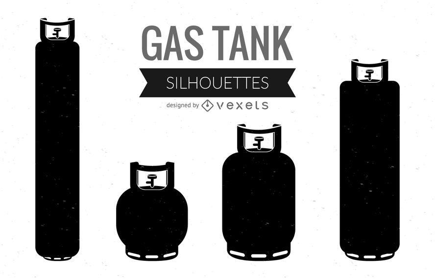 Silhuetas de tanque de gás ilustrado