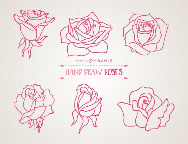 Conjunto de ilustraciones de rosas dibujadas a mano.