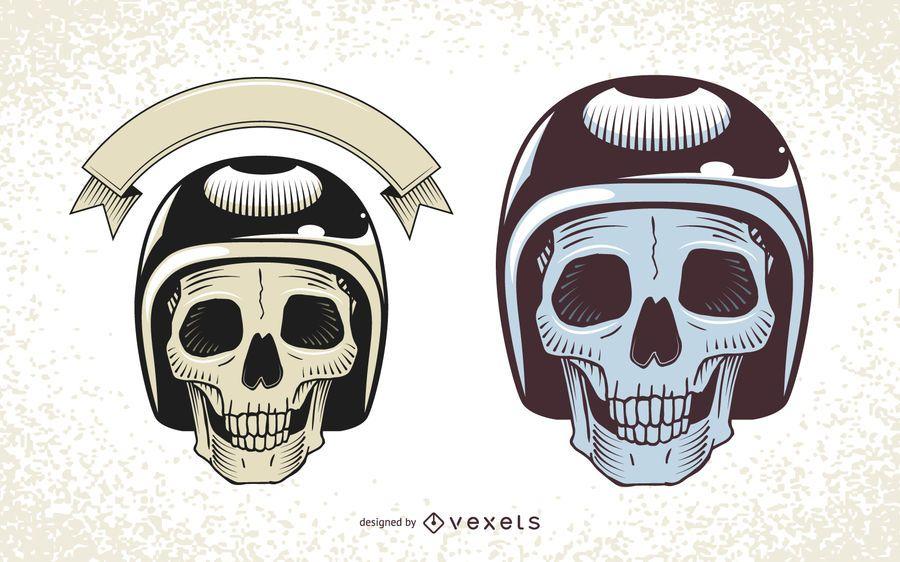 Calavera con ilustraciones de casco de moto.