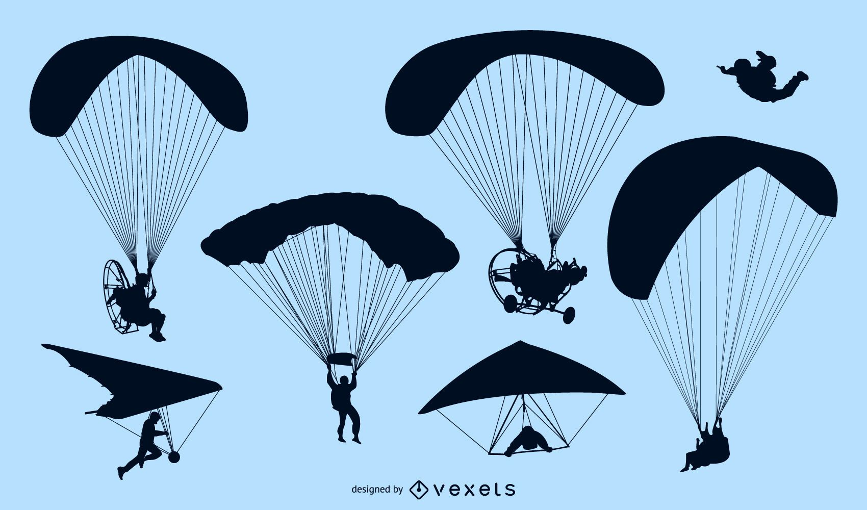 Set of parachutes and skydivers silhouettes