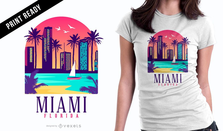 Diseño de camiseta Miami Florida