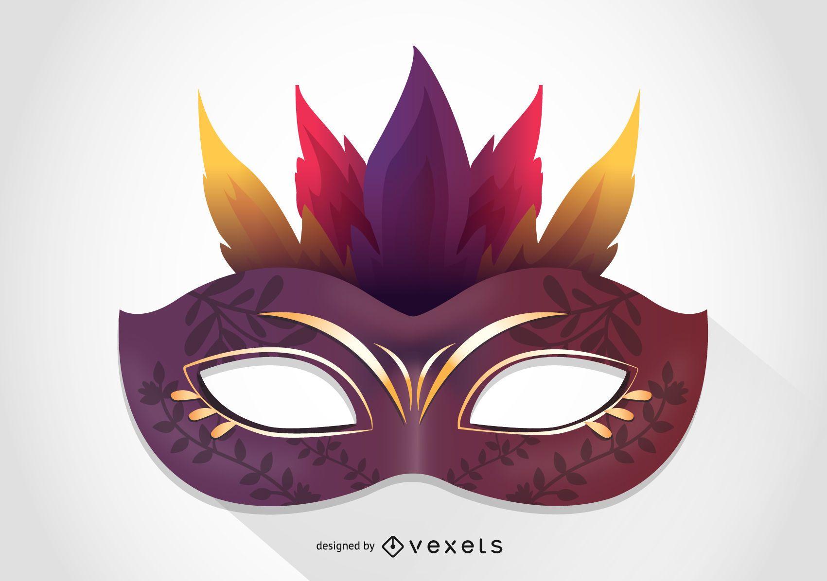 Illustrated Venice carnival mask