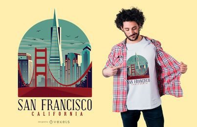 Design de t-shirt Califórnia San Francisco