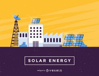 Ilustração da indústria de painéis de energia solar