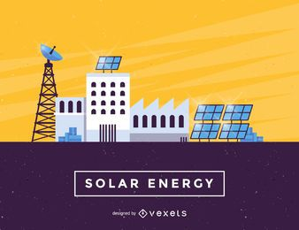 Solar Energy panels industry illustration