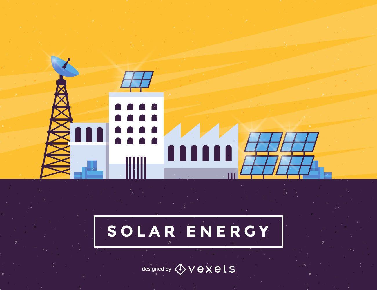 Solar Energy panels industry illustration