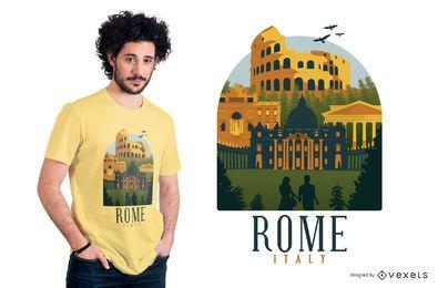 Diseño plano de la camiseta de Roma
