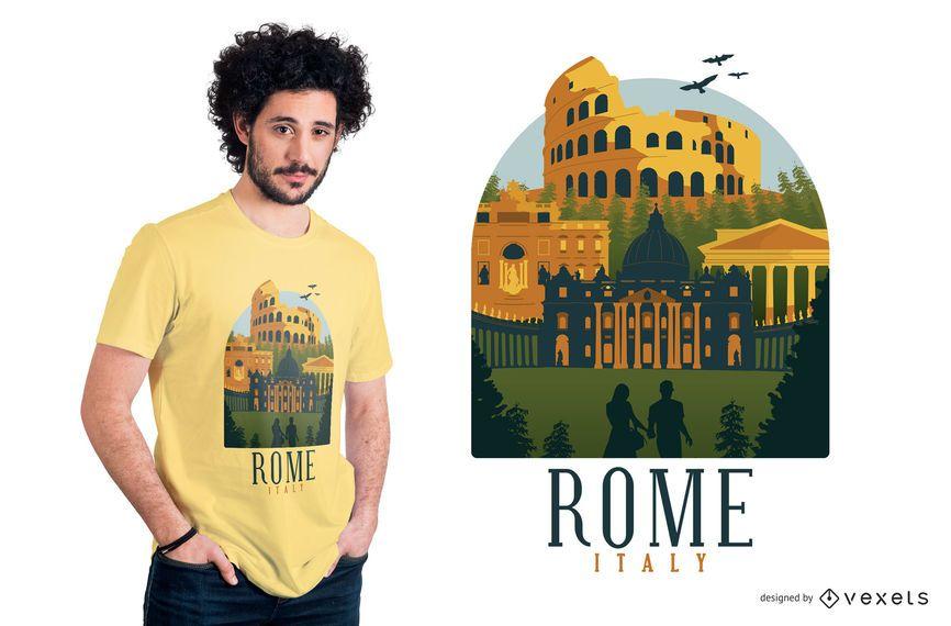 Design de camiseta plana de Roma