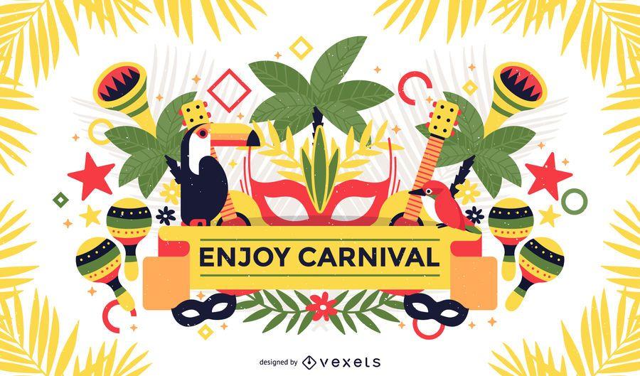 Cartaz de carnaval tropical do Brasil