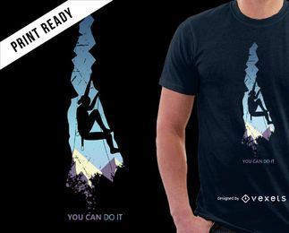 Escalada de las montañas diseño de camiseta fresca