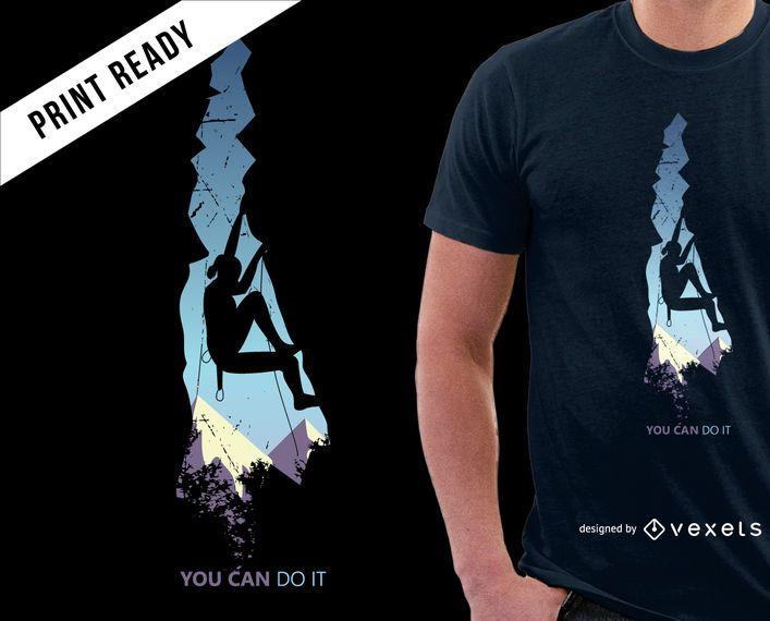 Diseño fresco de la camiseta de las montañas que sube
