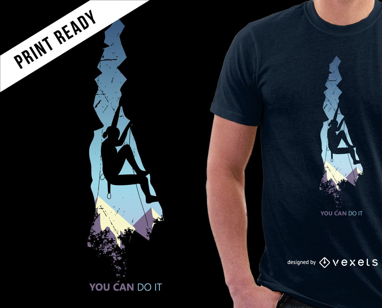 Diseño de camiseta de escalada de montañas.