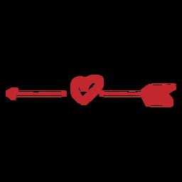 Etiqueta de flecha e coração