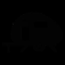 Camper trailer icono plana