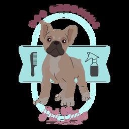 Perro que cuida el logotipo de cuidado de mascotas