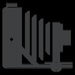 Icono de cámara plegable gris