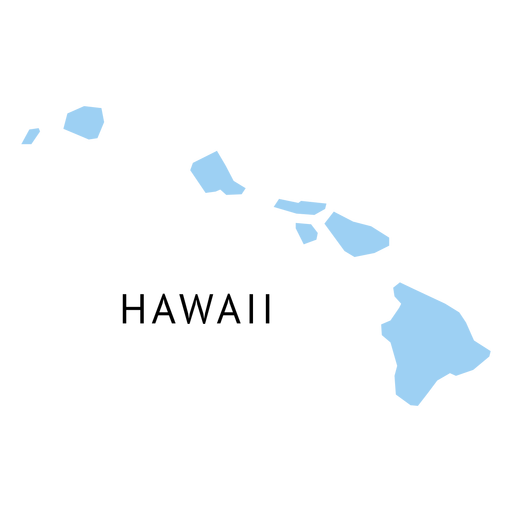 Hawaii state plain map Transparent PNG