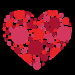 Etiqueta do coração feita de círculos