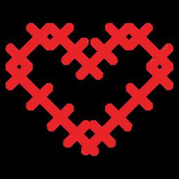 Adesivo de coração feito de cruzes