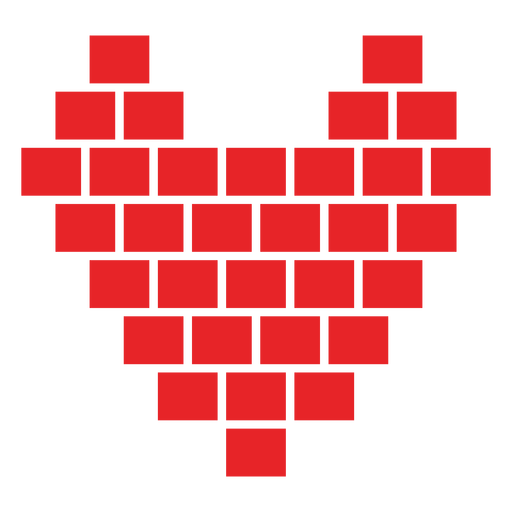 Heart made of cubes sticker Transparent PNG