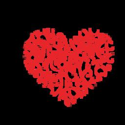 Pegatina de corazón hecho de florituras