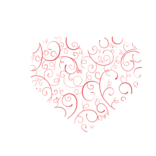 Heart made of flourishes sticker Transparent PNG
